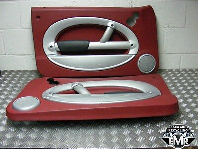 Bmw Mini Cooper R50 1.6 Petrol 2003 Red/silver/leather Front Door Card Cards Set
