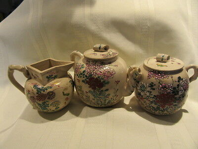 Antique 3 Pc Tea Set With Dragon Flies And Bamboo Style Fenial For Handles