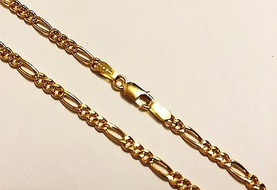 "18k solid yellow gold(7""inch)Figaro bracelet(3mm/4mm/5mm)"