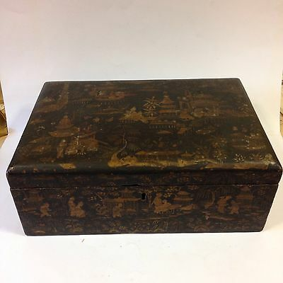 Large Antique Chinese Lacquer Box For Restoration. Gilt Decoration.