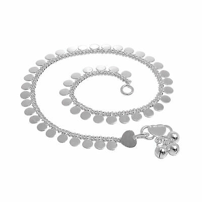 """Sterling Silver Anklet with Round Disc Charms Adult 10 """" Inch Hearts Ankle"""