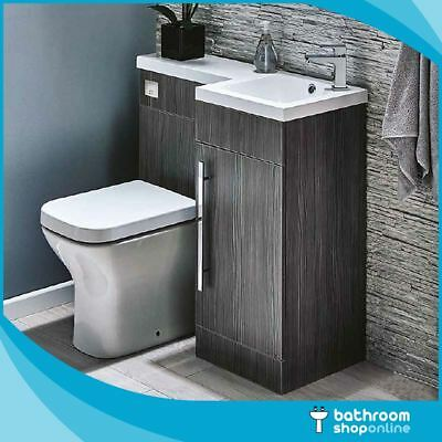 900mm L Shape Bathroom Furniture Suite BTW Toilet Vanity WC Unit Resin Basin