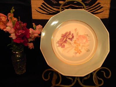 "Exquisite, Antique Hand Painted French Porcelain Plate; Marked M & R; 9"" Dessert"