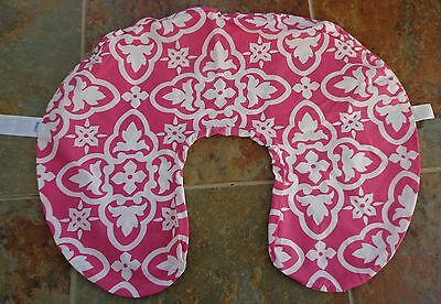 Boppy Slipcover Dark Pink Boho White Flowers Nursing Pillow Cover Case Baby Girl