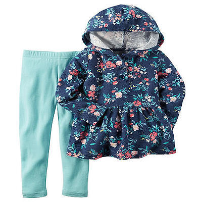Carter's Blue Floral Top & Aqua Leggings 2-Piece Pants Outfit Baby Girl 6 Months