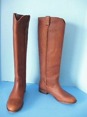 New Womens Frye Cara Cognac Brown Tall Oil Washed Vintage Leather Riding Boots 9