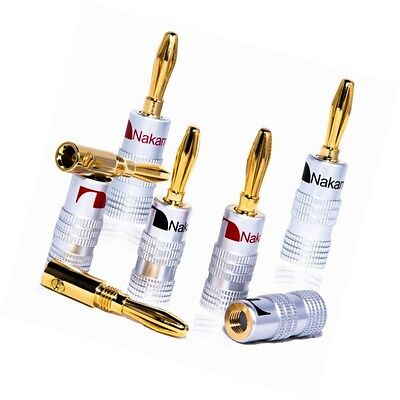High End Nakamichi Banana Plugs for Cable up to 6 mm² 24 K Gold-Plated Blac