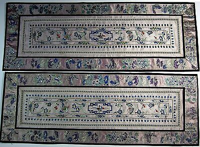 """A pair antique Chinese light grey silk embroidered panels 25"""" x 9"""""""