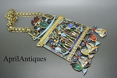 Vintage Di'Orios signed Egyptian revival enamel LARGE pendant scarab necklace