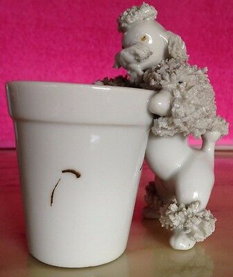 Vintage Japan Style CUTE Standing White Spaghetti Poodle Dog Toothpick Holder!