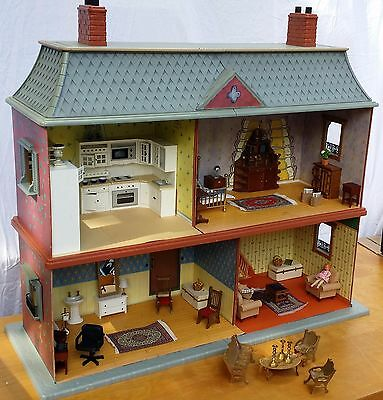 Madeline's Old House In Paris Dollhouse with Furniture Free Shipping