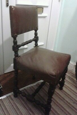 2 gorgeous antique chairs. Jacabean, brown leather. Carved detail. Restoration.