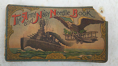 Needle Book Army And Navy Sewing Book - Battleship Bi-Plane Eagle Antique
