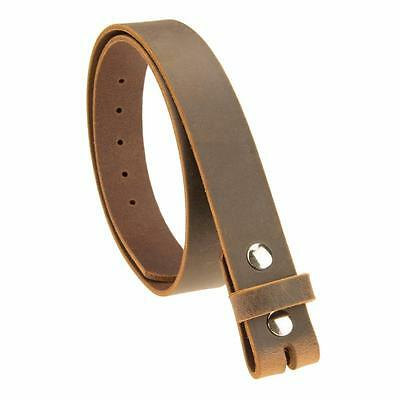 """BUFFALO LEATHER BELT Strap_No Buckle_1-1/4""""_Crazy Horse / Brown Amish Handmade"""