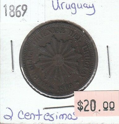 Uruguay 2 Centesimos 1869 Circulated