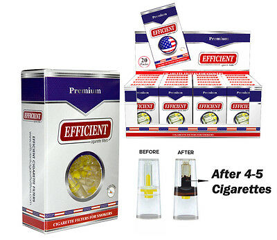 EFFICIENT Disposable Cigarette Filters, Tips & Holders 20 Packs + 1 Bonus Item