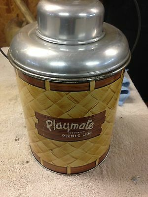 Antique Vintage Playmate Picnic Jug Cooler 1950's Metal Glass Lined Insulated