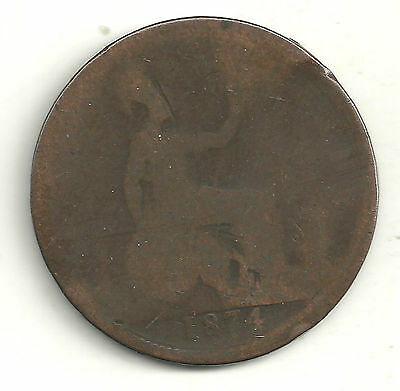 A Vintage 1874 Great Britain English Large Penny Cent-Jl128