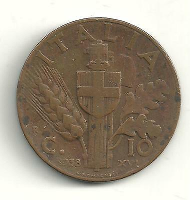 A Very Nice Better Grade 1938 R 10 Centesimi Italy Coin