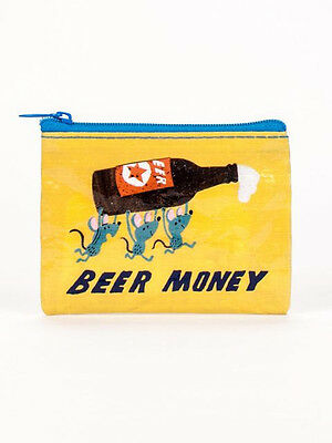 Beer Money Coin Purse Blue Q Small Wallet Card Holder Novelty Quirky Funny Gift