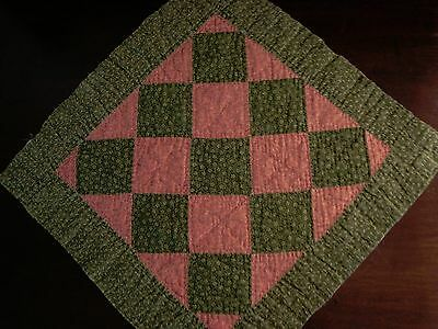 Primitive Antique Late 1800 Amish Checkerboard Quilt Block ~ Lancaster County Pa