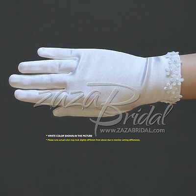Girl's Satin Gloves with flowers across the wrist with pearl centres