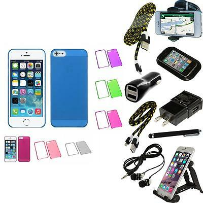 For iPhone 5/5S/SE Crystal Hard Snap-On Transparent Case Phone Cover + Bundle