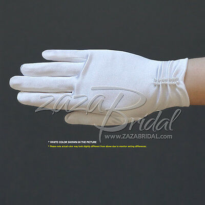 Girl's Satin Gloves with ruched part and pearl beading