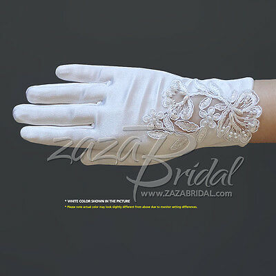 Girl's Satin Gloves with Floral Embroidery Lace & Pearls