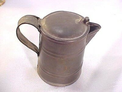 """Great Antique Tin 4"""" Coffee Pot Signed E M Kenyon Civil War? From Estate"""