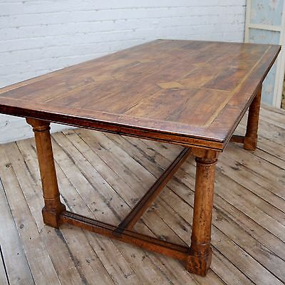 Antique style Walnut Italian / continental Refectory Dining table with Marble