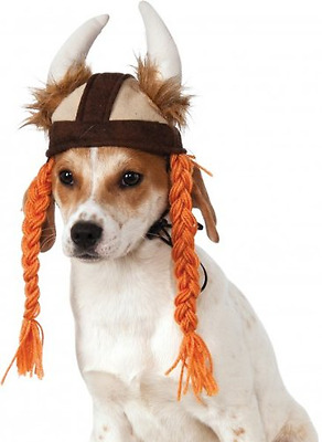 Rubies Costume Co Viking Hat with Braids for Pets, Medium/Large