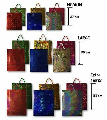 Holographic Paper Gift Bags Shiny Glossy Different Colours Sizes Birthday Party