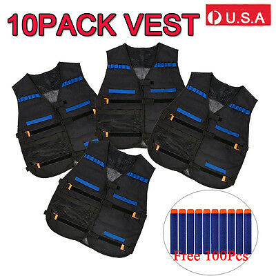 100 PCS Gun Soft Darts + 10Tactical Vest For Nerf N-Strike Elite Series Blue