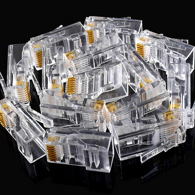25pcs Gold plated RJ45 Net Network Modular Plug Cat5 CAT5e Connector New