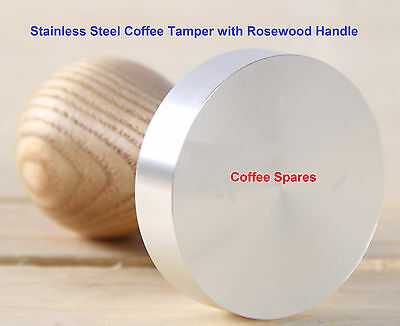 Coffee TAMPER 18/10 Stainless Steel Flat Base Rosewood Handle - 51, 53, 57mms