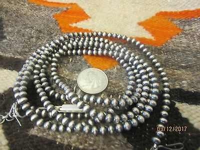"60 "" - 62 ""  Sterling Silver  3/8  ""  Bead Necklace  by Dan Dodson   131 grams"
