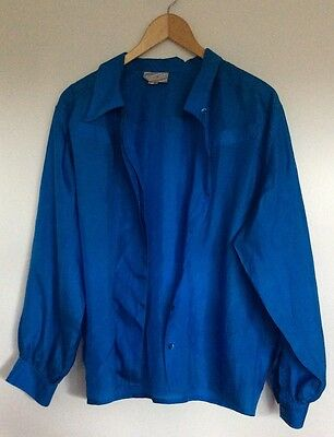 Vintage 1980s HARRY WHO Asymmetric Peacock Blue Silk Long Sleeved Blouse Size 8