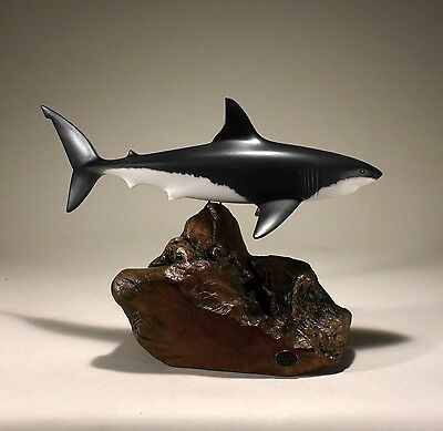 GREAT WHITE SHARK Sculpture New direct from John Perry 15in long Airbrushed