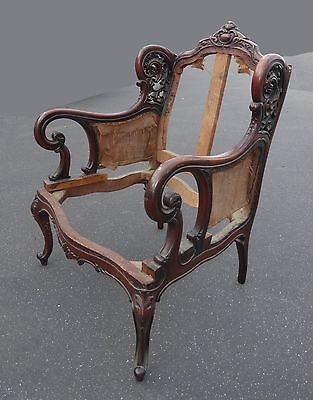 Vintage Victorian Style Ornate Carved Wood Accent Chair Frame French Provincial