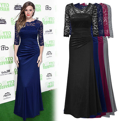 Women's Formal Lace Evening Cocktail Party Bridesmaid Long Prom Maxi Dresses
