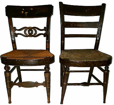 《FREE SHIPPING》- Pair of 19th Century Chairs Sheraton influence