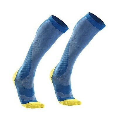 2Xu Mens Compression Performance Run Sock Vibrant Blue/canary Yellow