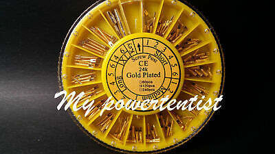 120pcs Dental Dentist Oral Conical 24K Golden Plant Screw Posts Tapered Assorted