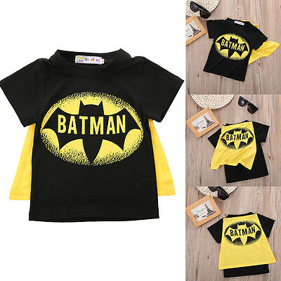 Lovely Kids Baby Boys Summer Batman Short Sleeve T-shirt Fashion Tops Clothes AU