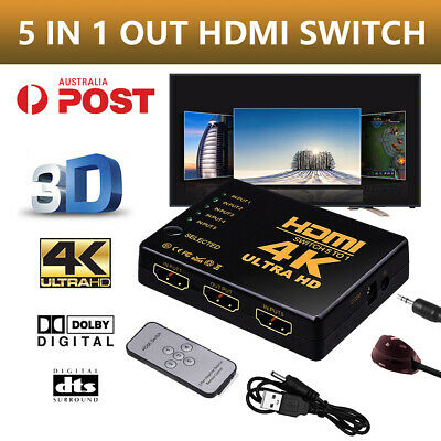 5 Port 1080P Full HD HDMI Splitter Switch Hub HDTV Video with IR Remote Control