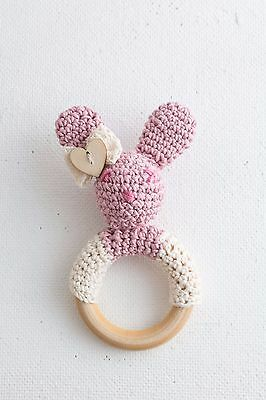 Handmade rattle, crochet rattle, bunny rattle, Baby Teething Ring ,handmade toy