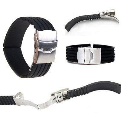 Silicone Rubber Watch Strap Belt Band Deployment Buckle Waterproof 18- 24mm