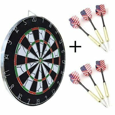 """18"""" Full Size Sided Dart Board Dartboard 6 Darts Party Game Toy Playset Kids New"""