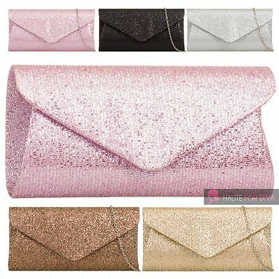 New Womens Shimmer Glitter 3D Envelope Chain Strap Party Clutch Bag Purse